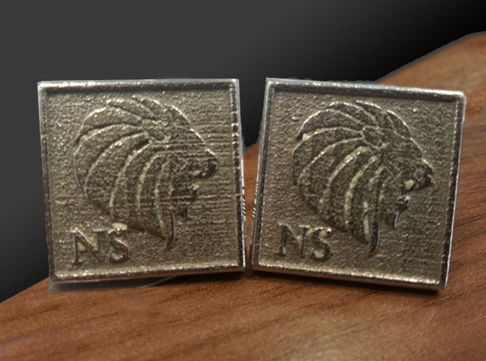 Personalized Cufflinks - Lion Head and Initials 3d printed This is what the pair looks like.