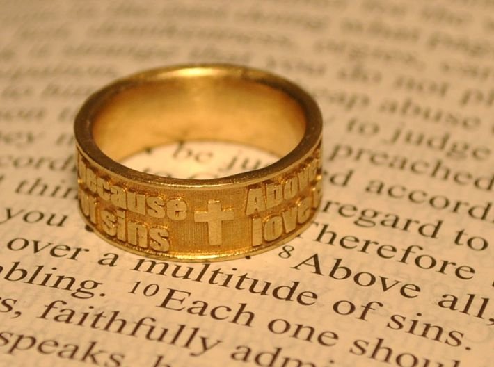 Bible Verse Ring Size 7.5 3d printed Size 7.5 shown