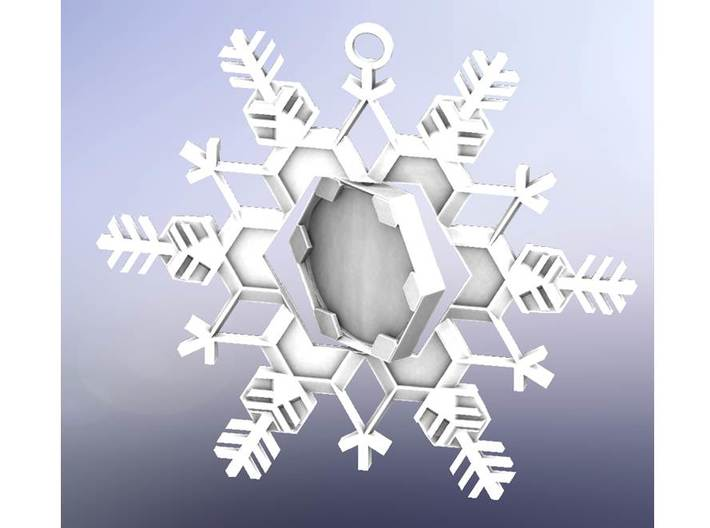 Snow Flake Ornament, Outer piece 3d printed (rendering of full ornament assembly)