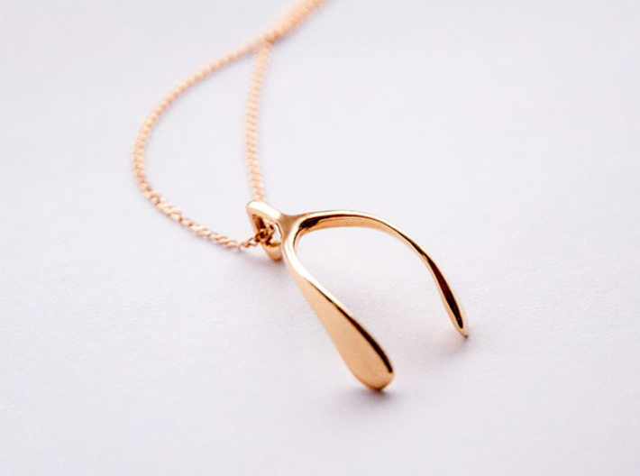 Whishbone pendant 3d printed Gold plated brass