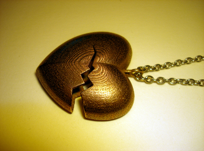 Broken Heart Pendant 3d printed Stainless Steel - Photo of an actual printed item (chain not included)