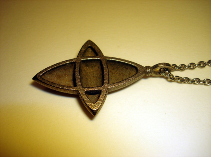 Elliptical Cross Pendant 3d printed Stainless Steel - Photo of an actual printed item (chain not included)