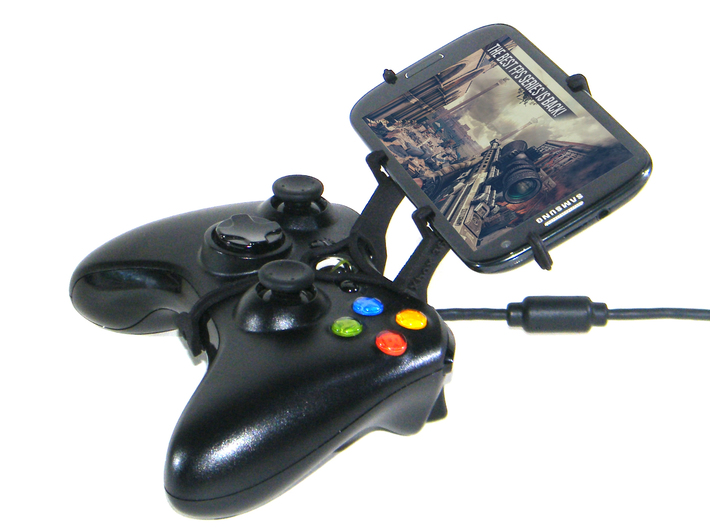 Xbox 360 controller & Maxwest Orbit 330G 3d printed Side View - A Samsung Galaxy S3 and a black Xbox 360 controller
