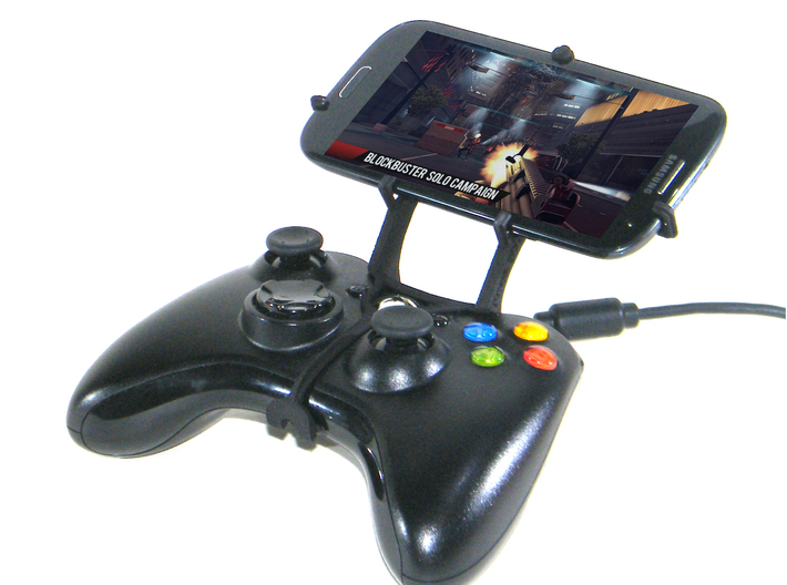 Xbox 360 controller & Unnecto Rush 3d printed Front View - A Samsung Galaxy S3 and a black Xbox 360 controller