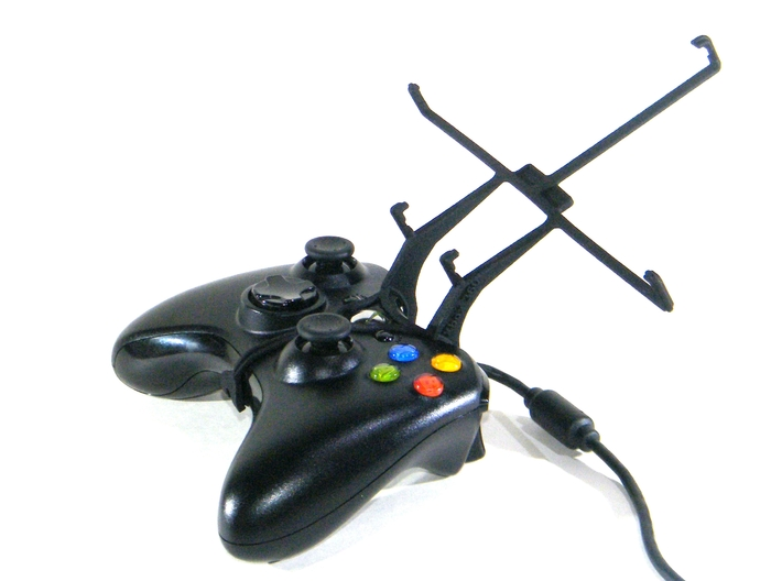 Xbox 360 controller & Asus Transformer Pad TF300T 3d printed Without phone - A Nexus 7 and a black Xbox 360 controller