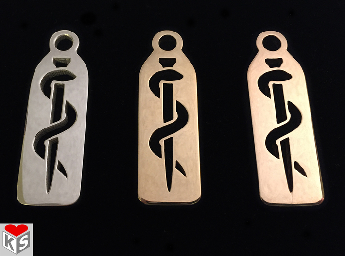 Medical Keychain 3d printed Product Photo of Polished Silver (Left), Polished Brass (Middle) and Polished Bronze (Right).