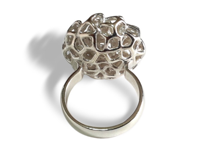 PERLA ring 3d printed Polished Silver