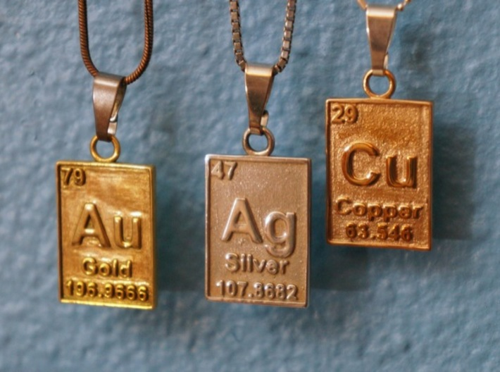 Gold Periodic Table Pendant 3d printed With it's friends, Silver & Copper!