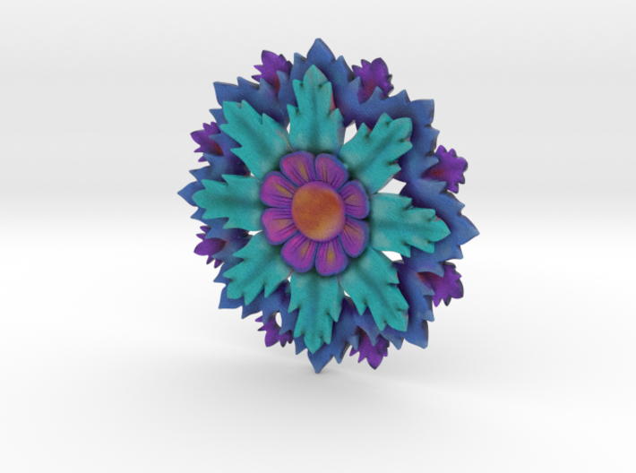 Full Color Flower Pendant With Hole 3d printed