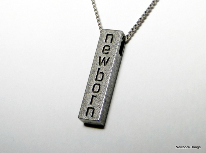 Pendant newborn 3d printed Pendant inspired by the DEPECHE MODE Song NEWBORN in Stainless Steel.
