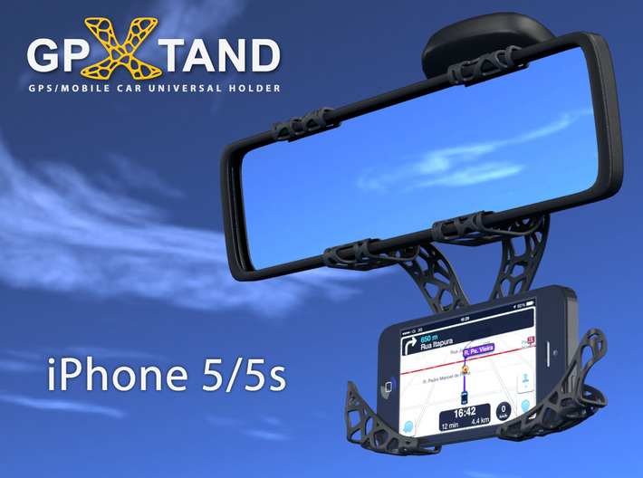 GPXtand - Universal Mobile and GPS Car Holder 3d printed GPXtand with iPhone 5/5s - WITH OR WITHOUT CASE!