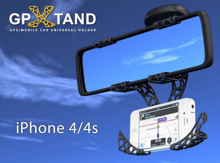 GPXtand - Universal Mobile and GPS Car Holder 3d printed GPXtand with iPhone 4/4s - WITH OR WITHOUT CASE!