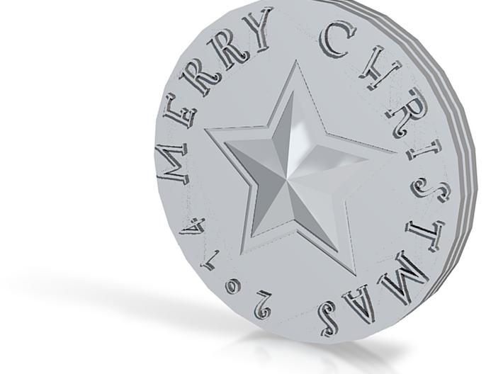 Merry Christmas Precious Metal Coin 3d printed
