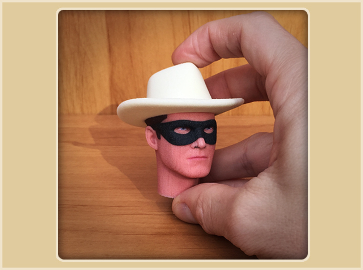 1:6 Scale Lone Ranger Head 3d printed