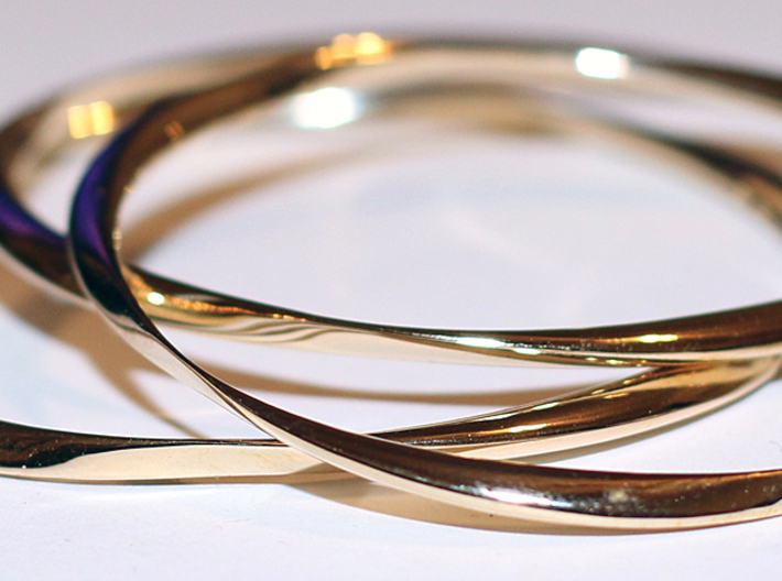 Twisted Bangle Bracelet MEDIUM 3d printed 3D Printed Twisted Bangle Bracelets in Polished Brass