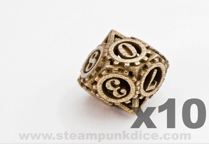 Steampunk Gear 10d10 Set 3d printed Stainless Steel