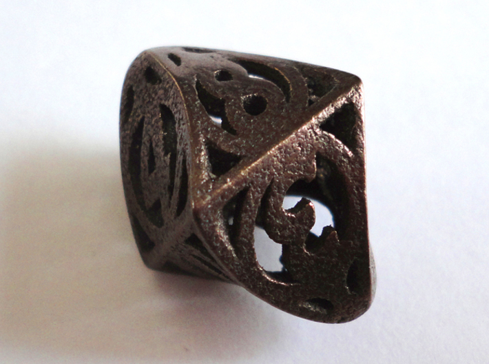Twisty Spindle d8 3d printed In Polished Bronze Steel