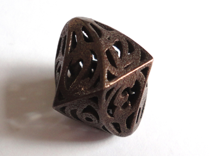 Twisty Spindle Die12 3d printed In Polished Bronze Steel