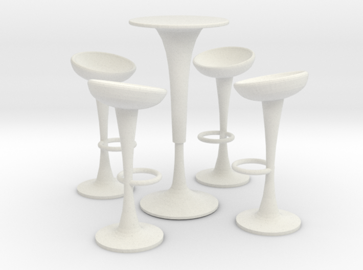 Egg Barstool Set (scale 1:24) 3d printed