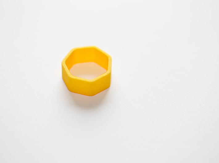 Poly7 Ring 3d printed Poly7 Ring in Yellow Strong & Flexible