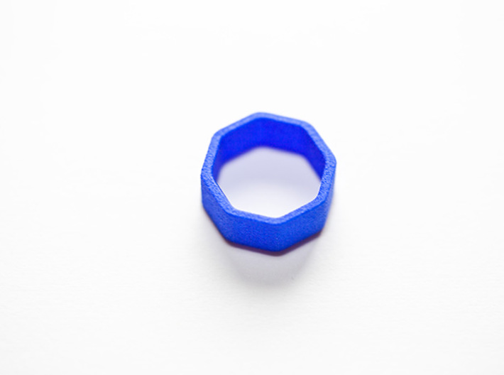 Poly8 Ring 3d printed Poly8 Ring in Blue Strong & Flexible