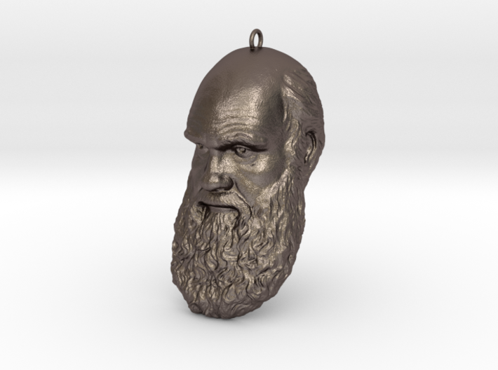 """Charles Darwin 6"""" Head with Hanger, Ornament 3d printed"""