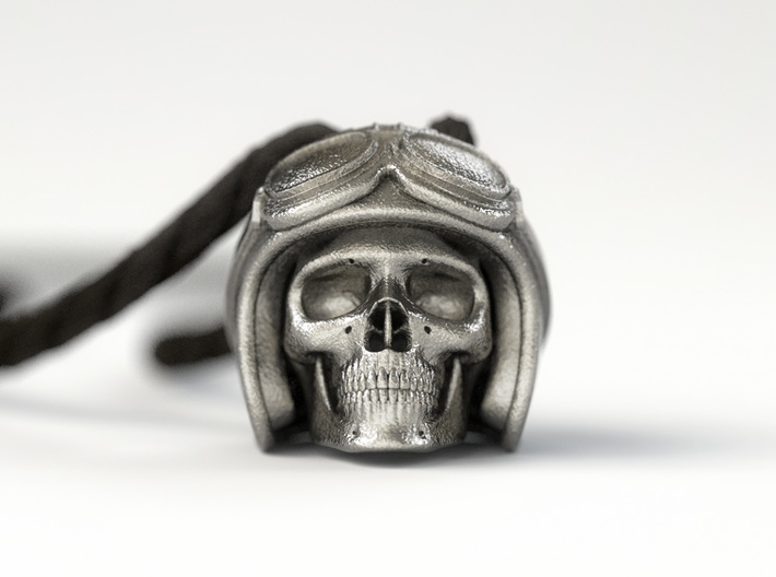 """Easy Rider Skull Pendant """"Silver"""" 3d printed 25mm H Pendant in Polished Nickel Steel"""