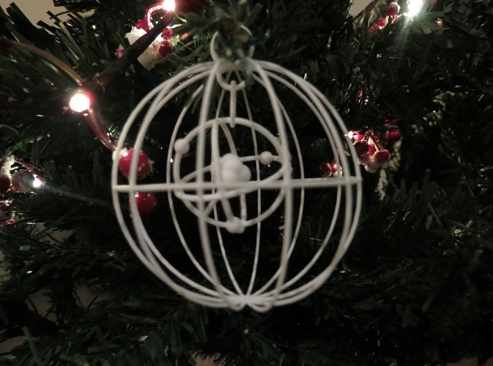 Christmas Bauble Atom 3d printed Original print. Wires have been thickened up since.