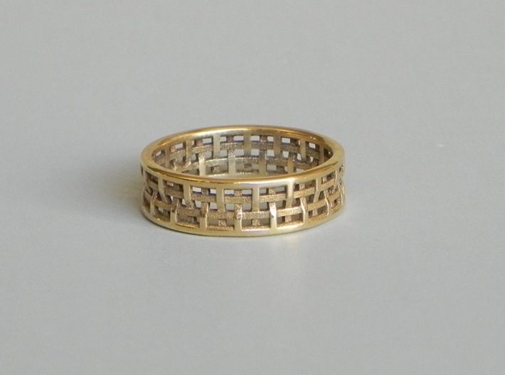 Basket Weave Ring 3d printed Polished Bronze
