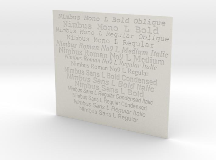 Font Samples - Nimbus 3d printed