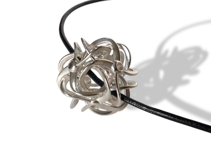 CYCLES pendant (cm 2) 3d printed Polished Silver