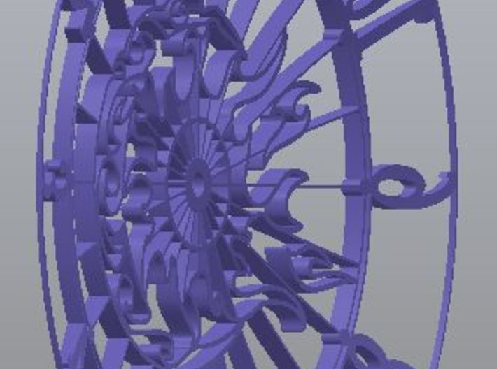 Sun-Moon Clock Face (Mark II) 3d printed Rear view (dished)