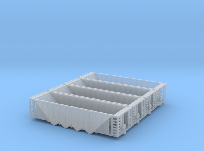 Four Bay Rapid Discharge Hopper - Set of 4 - Zscal 3d printed
