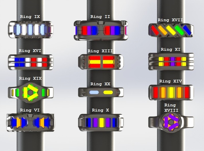 US10 Ring XXI: Tritium (Silver) 3d printed This render shows the various ring designs that can made available and possible tritium vial arrangements.
