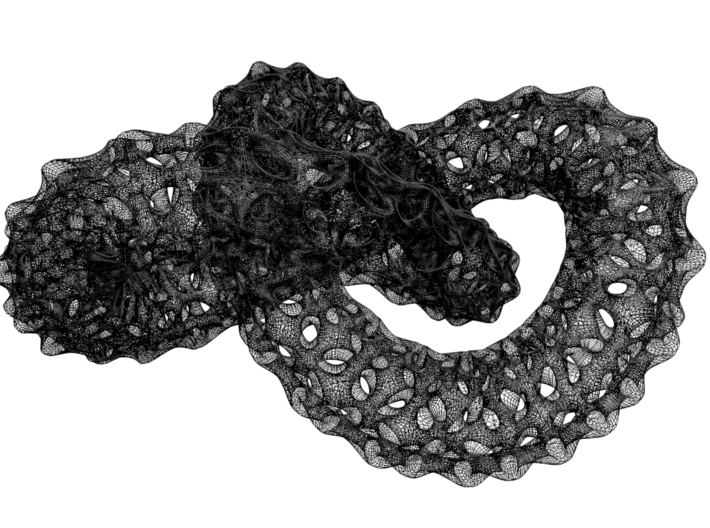 trefoil knot 3d printed wireframe
