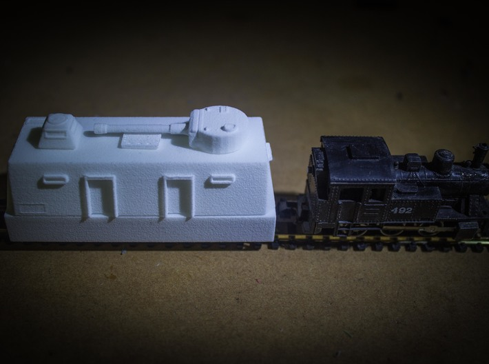 Command / Platoon / Medical Car Europe #1 (n-scale 3d printed Command car with direct fire gun stowed and on duty.