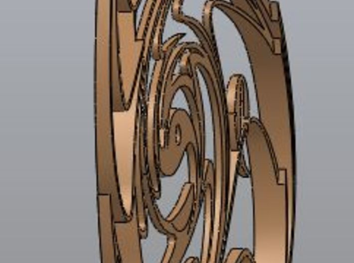 Paint Swirl Clock Face 3d printed Rear-side view (dished)