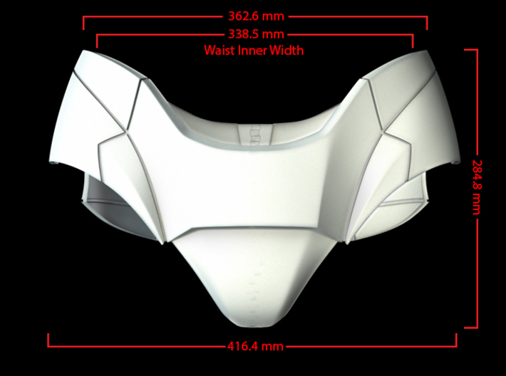Iron Man Pelvis Armor, Back Left (Part 5 of 5) 3d printed CG Render (Front Measurements)