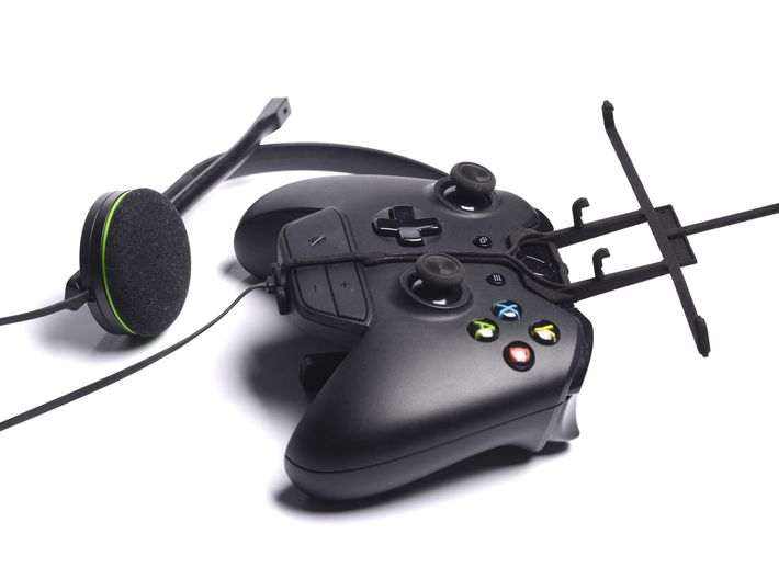 Xbox One controller & chat & Cat B15 3d printed Without phone - A Samsung Galaxy S3 and a black Xbox One controller & chat