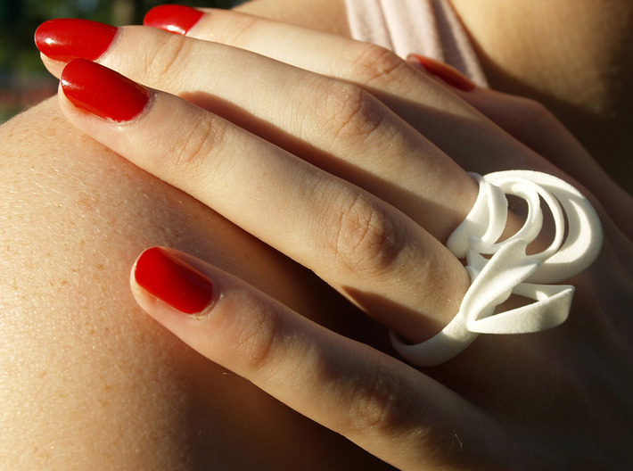 Ribbon Double Ring 8/9 3d printed White