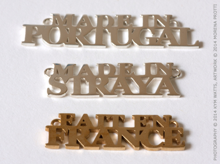 Made in PORTUGAL Pendant 3d printed Polished Silver, Premium Silver, Raw Brass