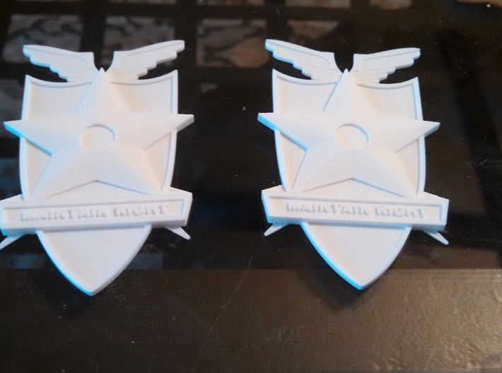 Main Force Patrol Badge (from the first Mad Max) 3d printed them.