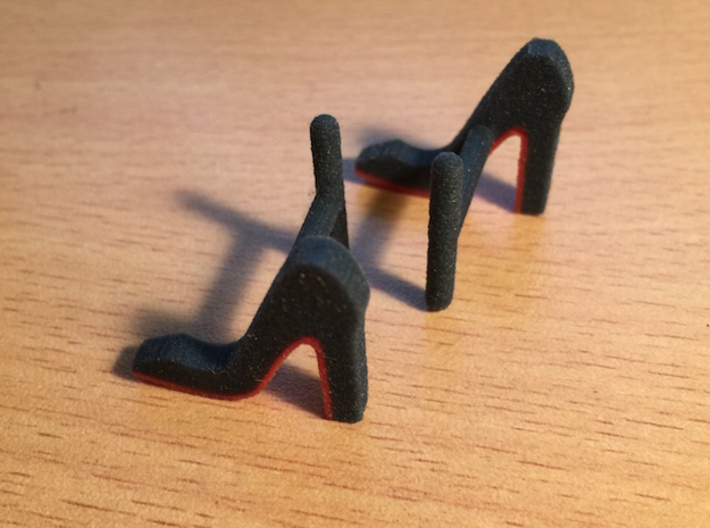 Red Sole Heel Cufflinks 3d printed Shoes were modeled after pumps