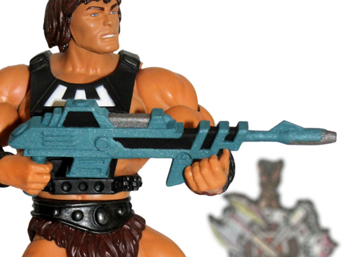 MOTUC Savage Laser Rifle 3d printed Painted Prototype printed in White Strong & Flexible Polished