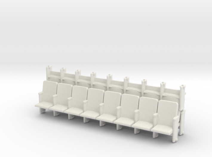 8 X 3 Theater Seats HO Scale 3d printed
