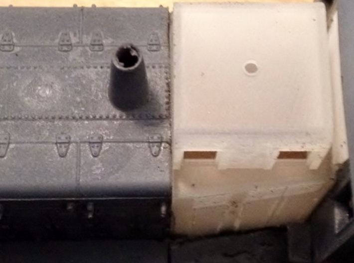 HO-Scale UP TR-5 Dynamic Brake Box 3-Pack 3d printed Where to cut the Athearn shell. Photo & Model By Jeff Davis.
