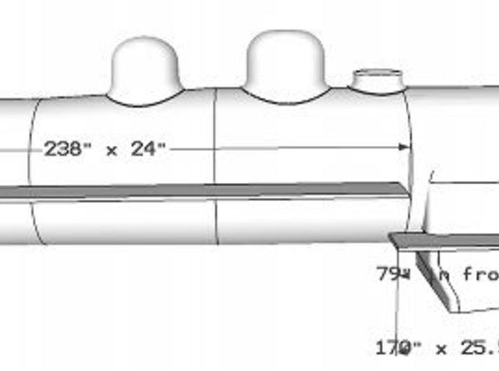 Florida East Coast 4-6-2 boiler and wood cab - HO 3d printed Left hand running board dimensions