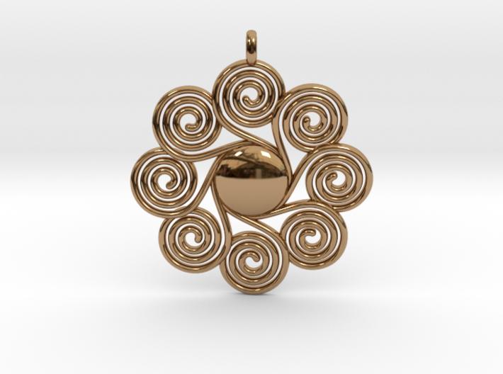 SPIRAL SUN Designer Jewelry Pendant 3d printed