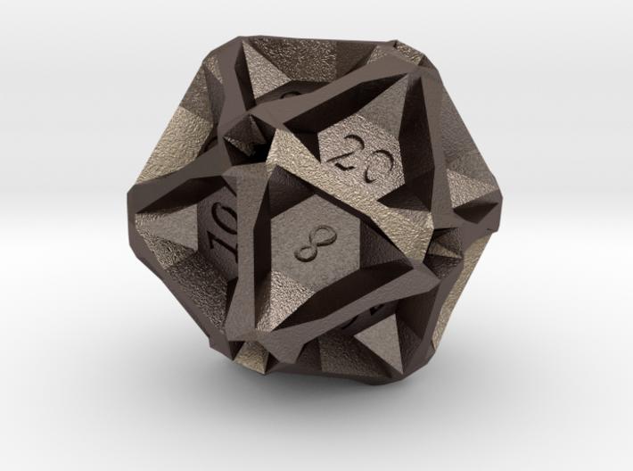 Geometric d20 [Metals] (engraved) 3d printed