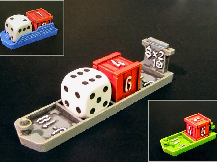 Cruise & Giant cargo ships (4 pcs) 3d printed Picture of various ships showing compatibility with 12mm dice & crate.
